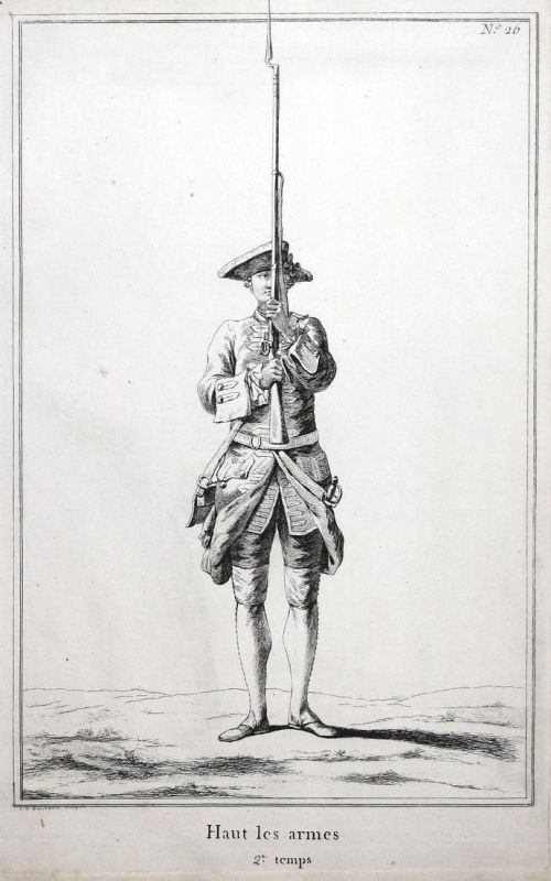 Haut les armes - 2.e temps - No. 26 - Kupferstich military Foot drill Exerzieren soldier Militaria Gewehr Sold
