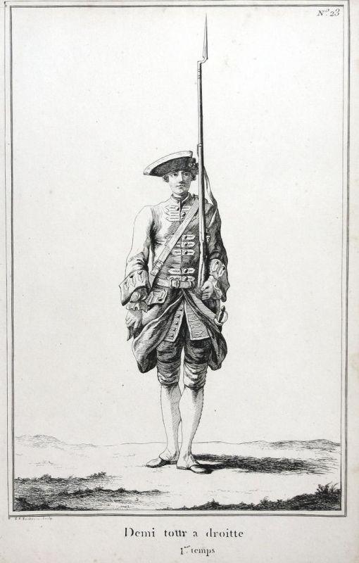 Demi tour a droitte - I.er temps - No. 23 - Exerzieren Kupferstich military Foot drill soldier Militaria Geweh