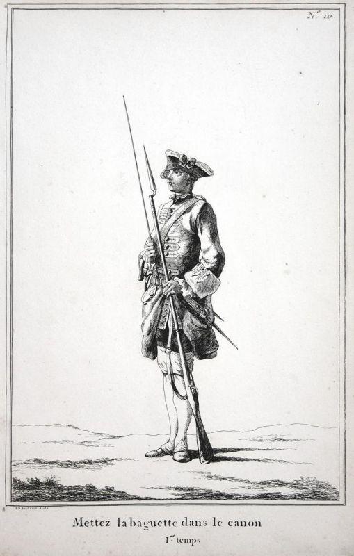 Mettez la baguette dans le canon - I.er temps - No. 10 - Soldat Gewehr Exerzieren Kupferstich military Foot dr