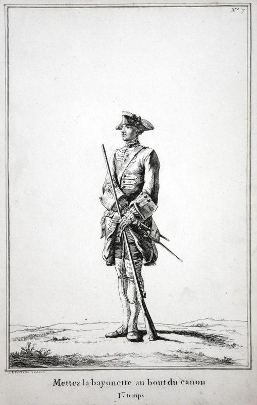 Mettez la bayonette au bout du canon - I.er temps - No. 7 - Soldat Gewehr Exerzieren Kupferstich Militaria mil