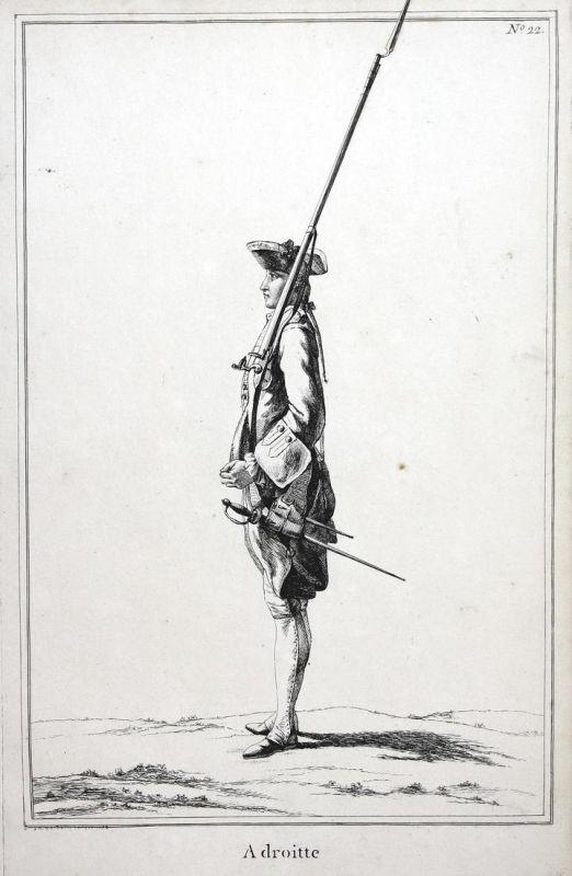 Adroitte - No. 22 - Exerzieren Kupferstich military Foot drill soldier Gewehr Militaria Soldat antique print