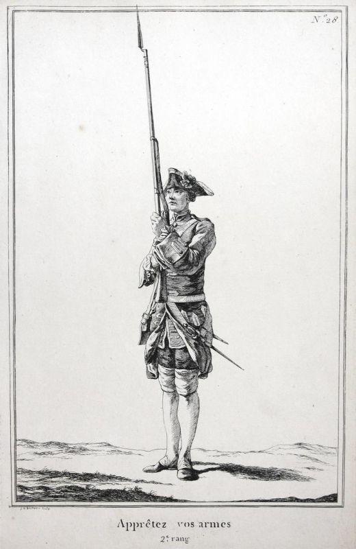 Appretez vos armes - 2.e rang - No. 28 - Kupferstich military Foot drill soldier Militaria Exerzieren Gewehr S