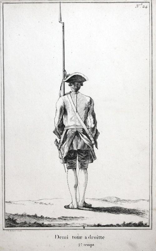 Demi tour a droitte - 2.e temps - No. 24 - Kupferstich Exerzieren military Foot drill soldier Militaria Gewehr
