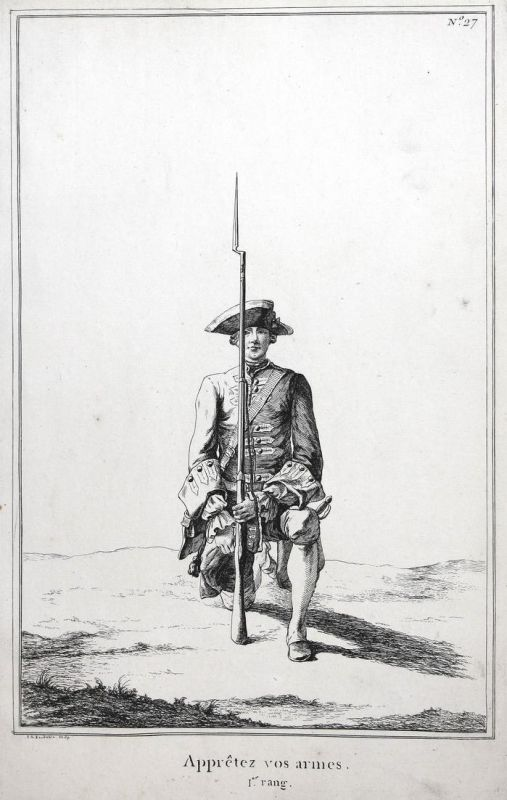 Appretez vos armes - I.er rang - No. 27 - Kupferstich military Foot drill soldier Exerzieren Militaria Gewehr
