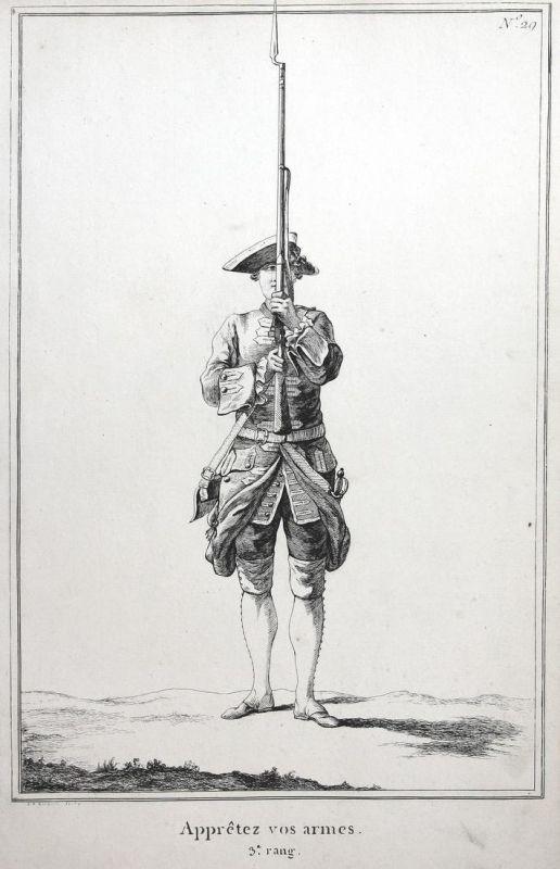 Appretez vos armes - 3.e rang - No. 29 - Kupferstich military Foot drill soldier Militaria Gewehr Exerzieren S