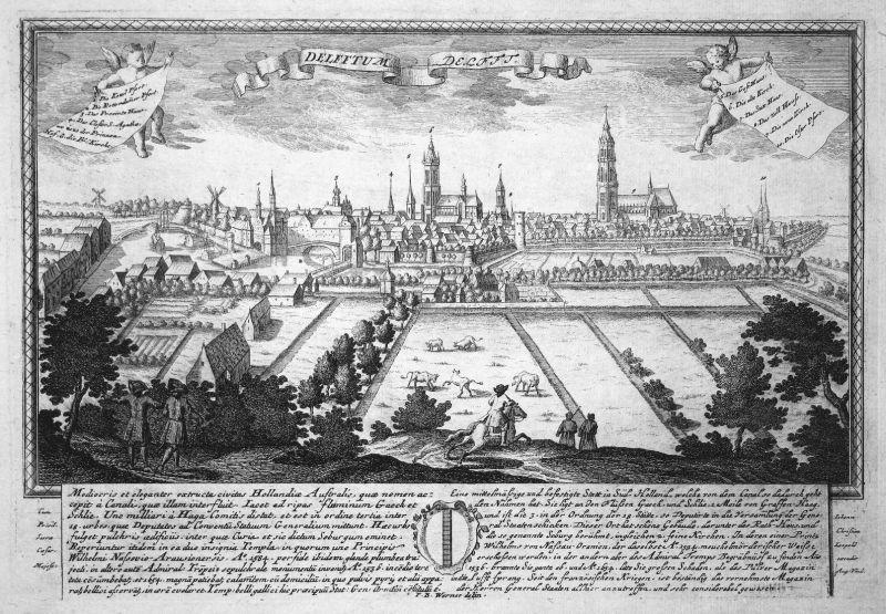 Delfftum - Delfft - Delft Holland Nederland Ansicht Panorama Kupferstich engraving Leopold Werner antique prin