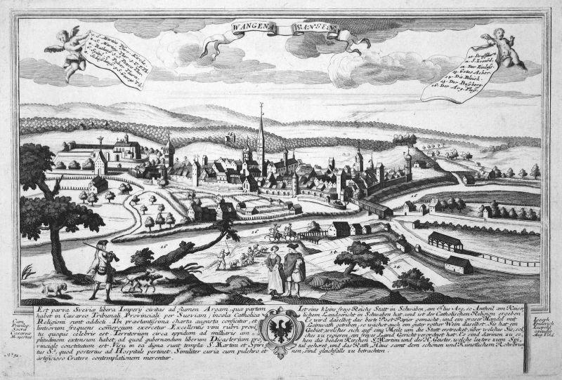 Wangena - Wangen - Wangen Allgäu Schwaben Ansicht Panorama Kupferstich engraving Leopold Werner antique print