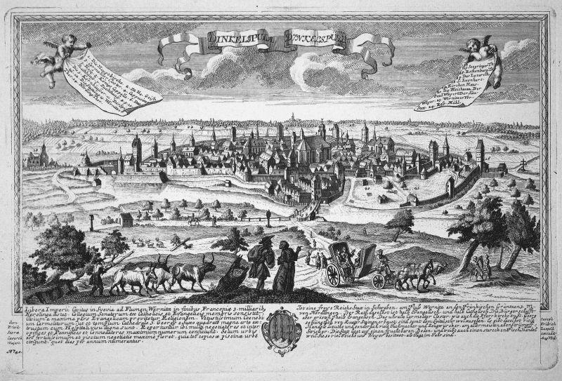 Dinkelspula - Dinkelspühl - Dinkelsbühl Mittelfranken Bayern Ansicht Panorama Kupferstich engraving Leopold We