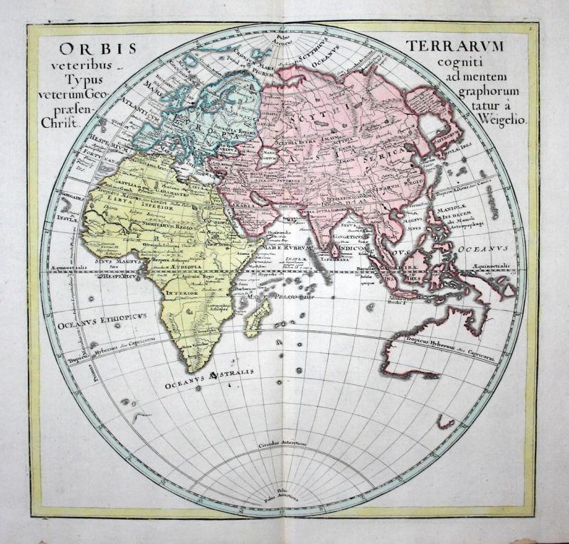 Orbis Terrarum... - Weltkarte world map Australia Australien Africa Afrika Asia Asien Karte map Kupferstich co
