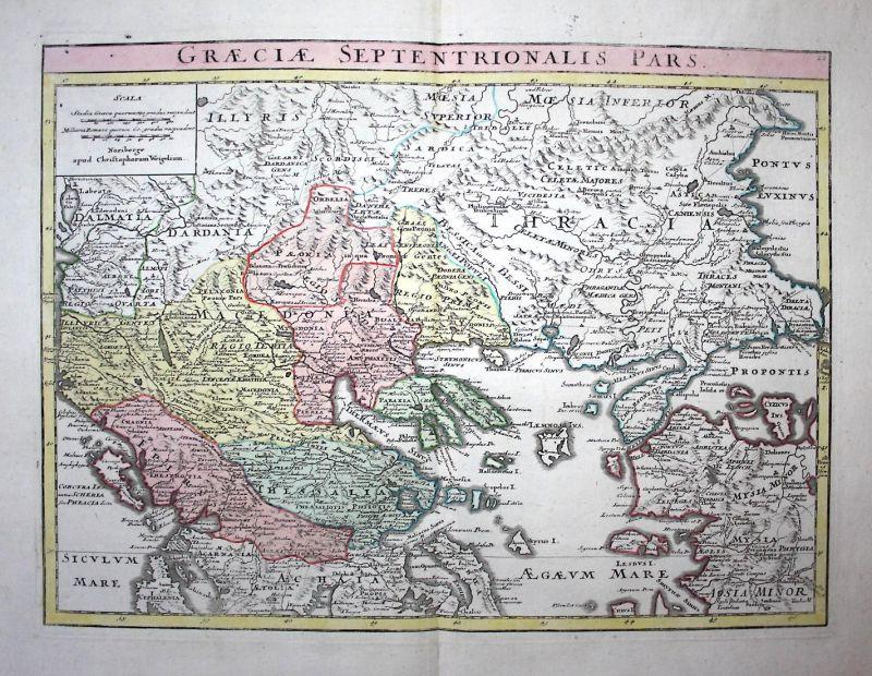 Graecia Septentrionalis Pars - Northern Greece Griechenland Antike antiquity Karte map Kupferstich copper engr