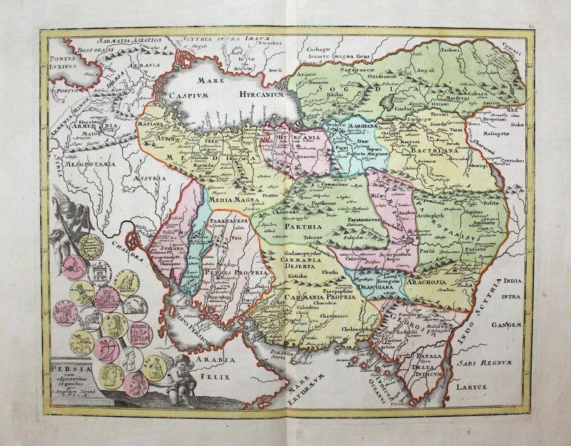 Persia - Persia Persian Iran Caspian Sea Kaspisches Meer Middle East Orient Karte map Kupferstich copper engra