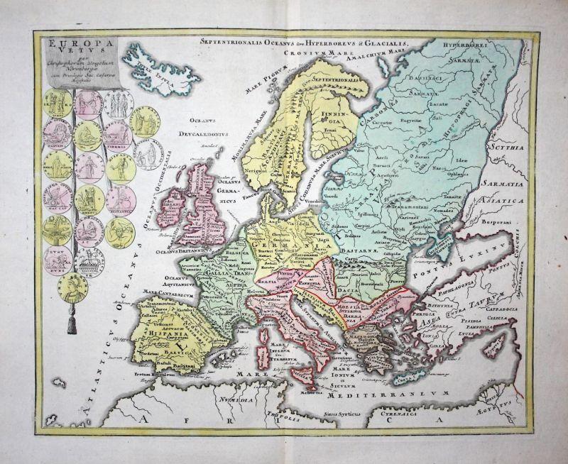 Europa Vetus - Europa Europe Kontinent continent Karte map Kupferstich copper engraving antique print