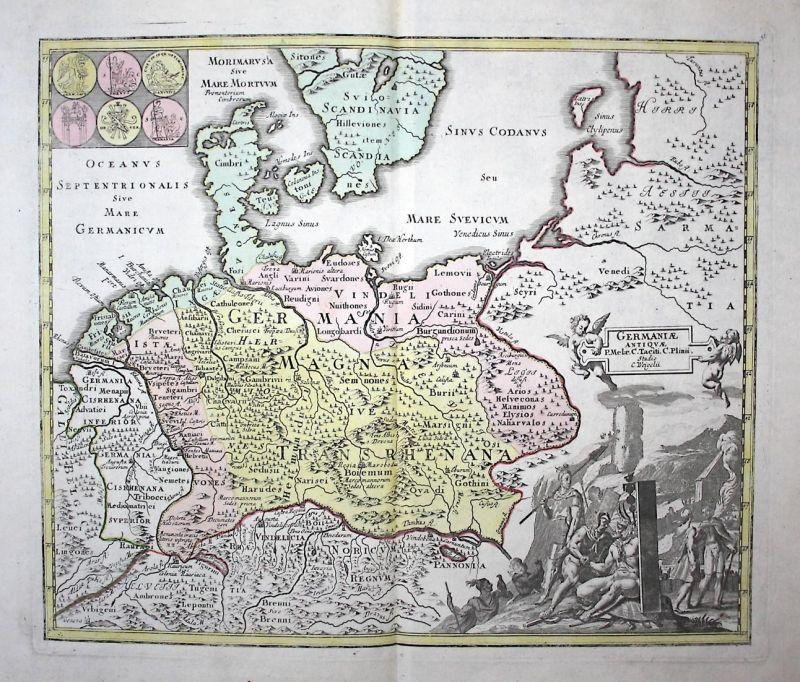 Germaniae Antiquae - Germania Germanien Germany Europe Europa Karte map Kupferstich copper engraving antique p