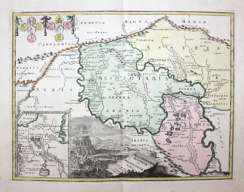 Mesopotamiae Assyriae et Babyloniae Tabula - Irak Iraq Mesopotamia Mesopotamien Babylon Kuweit Karte map Kupfe