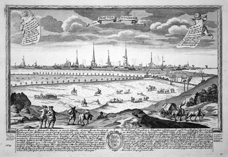 Hafnia - Coppenhage - Copenhagen Kopenhagen Denmark Dänemark Ansicht Panorama Kupferstich engraving Leopold We