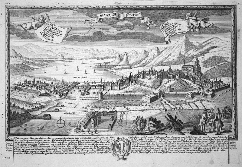 Geneva - Genf - Genf Geneva Schweiz Suisse Ansicht Panorama Kupferstich engraving Leopold Werner antique print