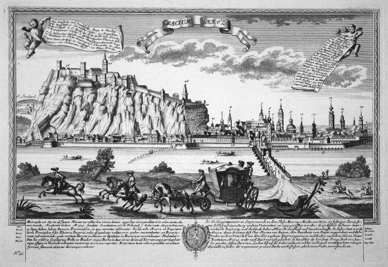 Graecium - Graetz - Graz Österreich Steiermark Ansicht Panorama Kupferstich engraving Leopold Werner antique p