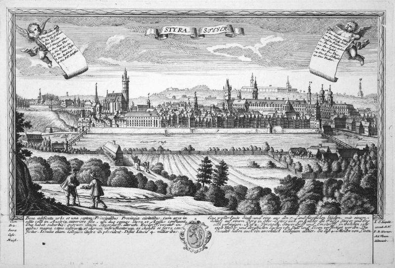 Styra - Steyer - Steyr Steiermark Ansicht Panorama Kupferstich engraving Leopold Werner antique print