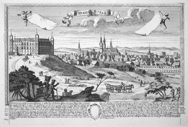 Upsalia - Upsal - Uppsala Schweden Sweden Ansicht Panorama Kupferstich engraving Leopold Werner antique print