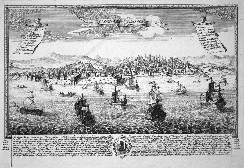 Lisabona - Lisabon - Lissabon Lisboa Portugal Ansicht Panorama Kupferstich engraving Leopold Werner antique pr