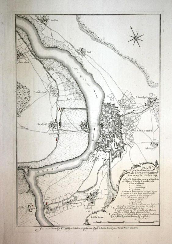 Plan du Bombardement de Dusseldorff Commence le 28me Juin 1758 // Belagerung von Düsseldorf
