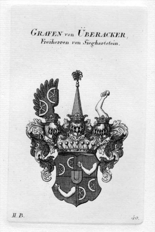 von Überacker Wappen Adel coat of arms heraldry Heraldik Kupferstich