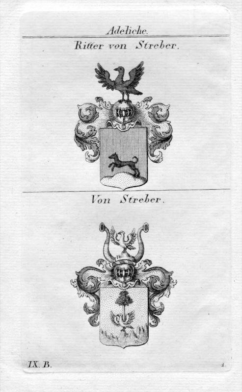 Streber - Wappen Adel coat of arms heraldry Heraldik Kupferstich