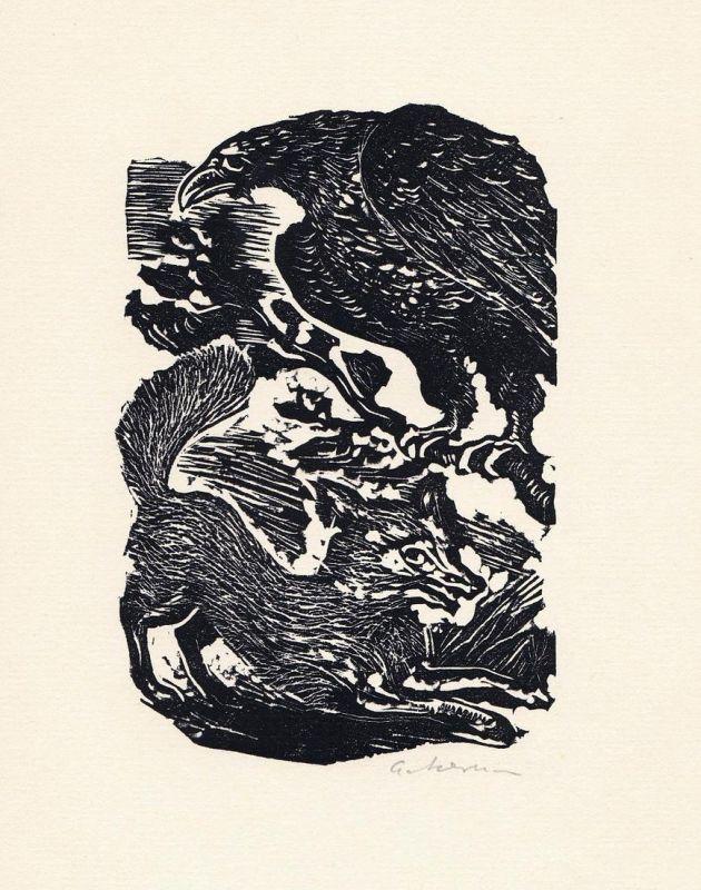 Linolschnitt von Helmut Ackermann zu einer Fabel von Aesop.
