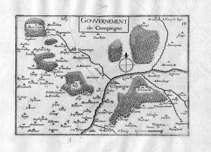 Gowernement de Compiegne - Compiegne Oisne  Hauts-de-France Frankreich France gravure carte Kupferstich