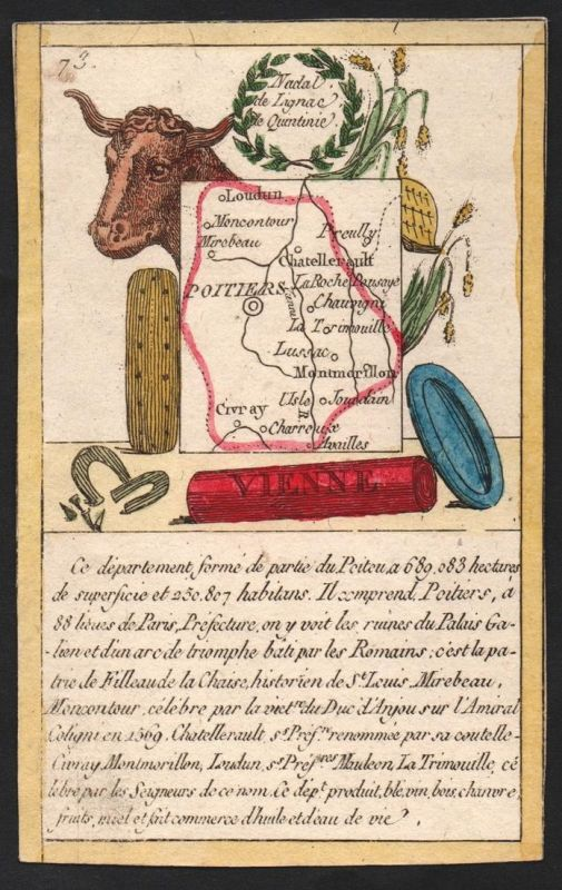 Vienne - Poitiers Vienne Frankreich France playing card carte a jouer Spielkarte Kupferstich copper engraving
