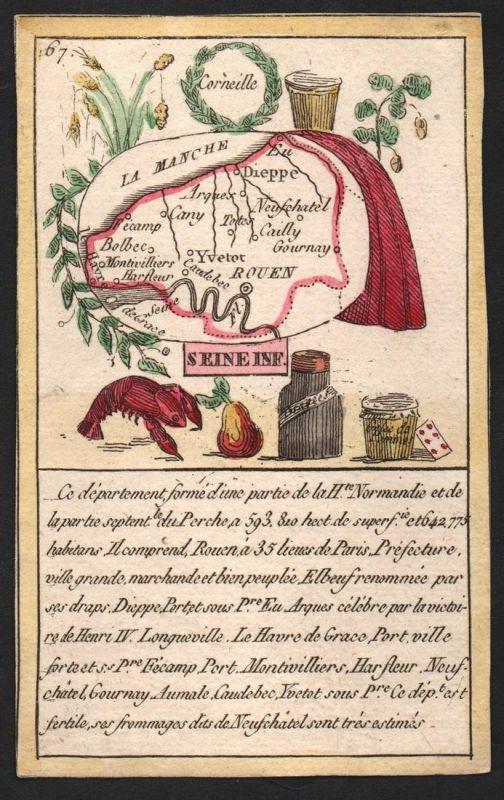 Seine Inf. - Rouen Seine-Maritime Frankreich France playing card carte a jouer Spielkarte Kupferstich copper e