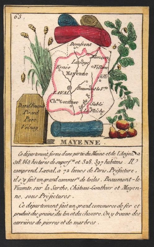 Mayenne - Laval Mayenne Frankreich France playing card carte a jouer Spielkarte Kupferstich copper engraving a
