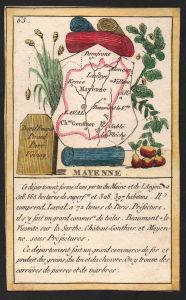 Mayenne - Laval Mayenne Frankreich France playing card carte a jouer Spielkarte Kupferstich copper engraving a