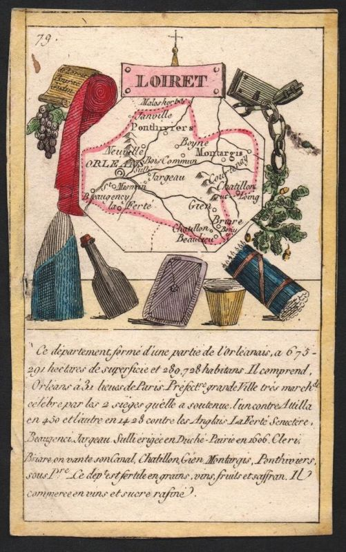 Loiret - Orleans Loiret Frankreich France playing card carte a jouer Spielkarte Kupferstich copper engraving a