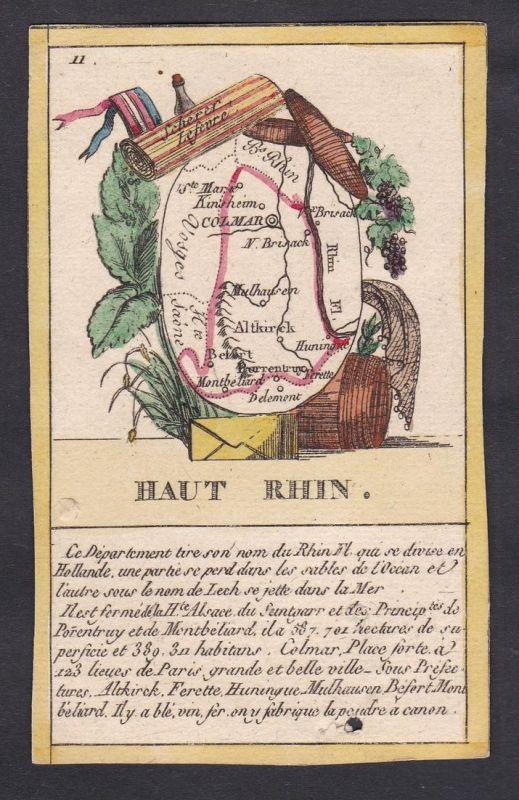 Haut Rhin - Colmar Haut Rhin Frankreich France playing card carte a jouer Spielkarte Kupferstich copper engrav