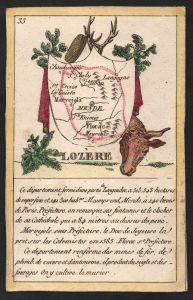 Lozere - Mende Lozere Frankreich France playing card carte a jouer Spielkarte Kupferstich copper engraving ant