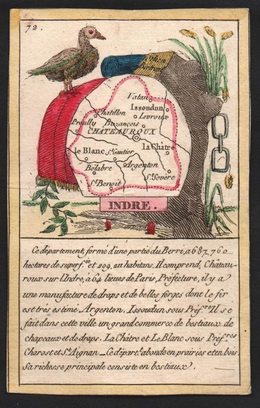 Indre - Chateauroux Indre Frankreich France playing card carte a jouer Spielkarte Kupferstich copper engraving