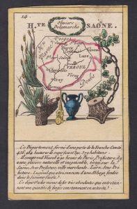 H.te Saone - Vezoul Haute Saone Frankreich France playing card carte a jouer Spielkarte Kupferstich copper eng