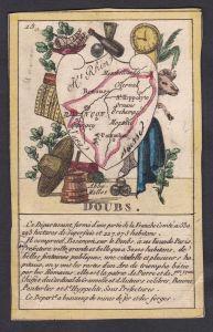 Doubs - Besancon Doubs Frankreich France playing card carte a jouer Spielkarte Kupferstich copper engraving an