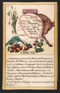 Creuse - Gueret Creuse Frankreich France playing card carte a jouer Spielkarte Kupferstich copper engraving an