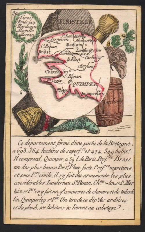 Finistere - Quimper Finistere Frankreich France playing card carte a jouer Spielkarte Kupferstich copper engra