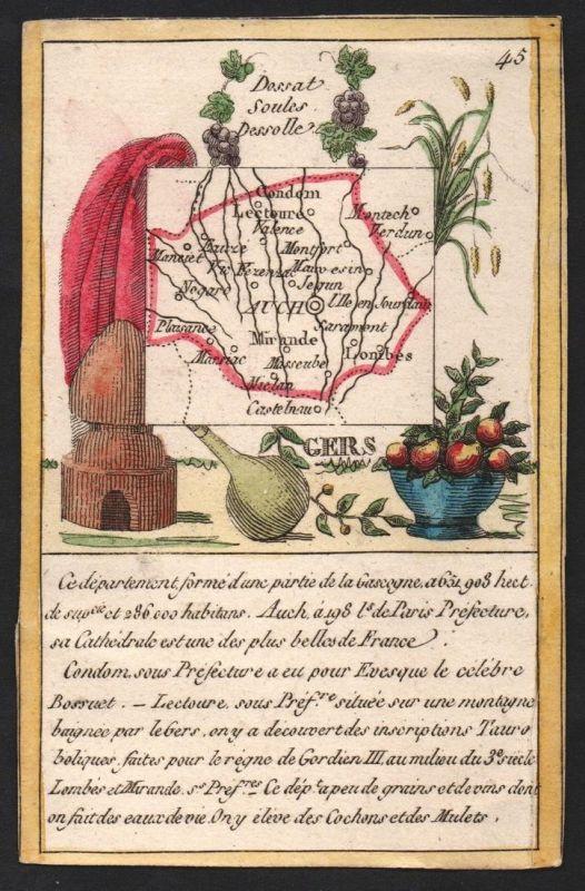 Gers - Auch Gers Frankreich France playing card carte a jouer Spielkarte Kupferstich copper engraving antique