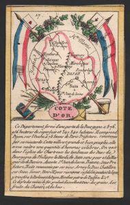 Cote d'Or - Dijon Cote d'Or Frankreich France playing card carte a jouer Spielkarte Kupferstich copper engravi