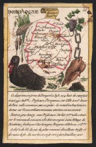 Dord Ogne - Perigueux Dordogne Frankreich France playing card carte a jouer Spielkarte Kupferstich copper engr