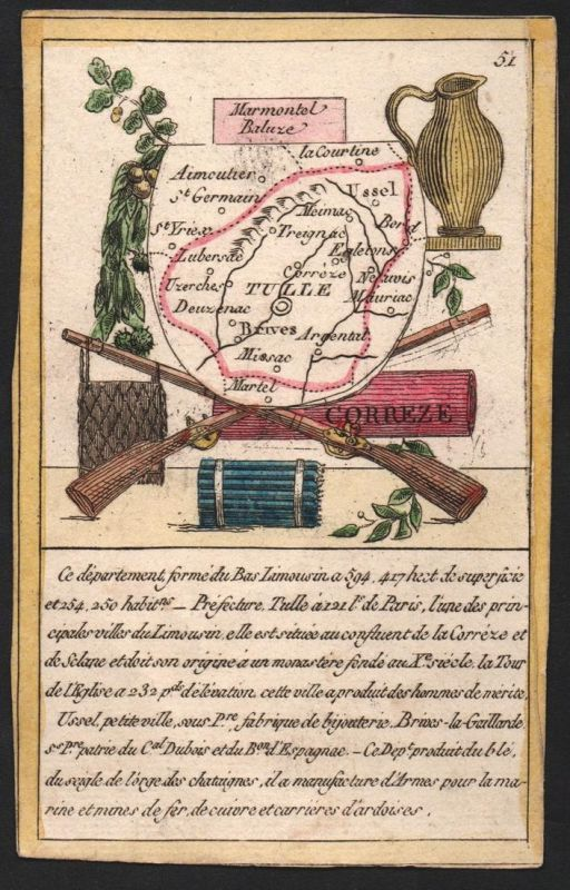 Correze - Tulle Correze Frankreich France playing card carte a jouer Spielkarte Kupferstich copper engraving a