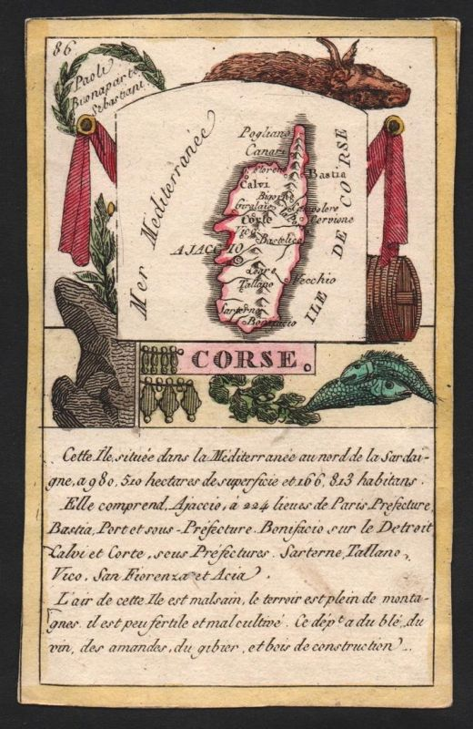 Corse - Ajaccio Corse Frankreich France playing card carte a jouer Spielkarte Kupferstich copper engraving ant