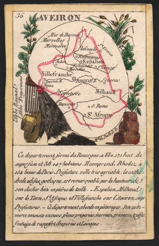 Aveiron - Rhodez Aveiron Frankreich France playing card carte a jouer Spielkarte Kupferstich copper engraving