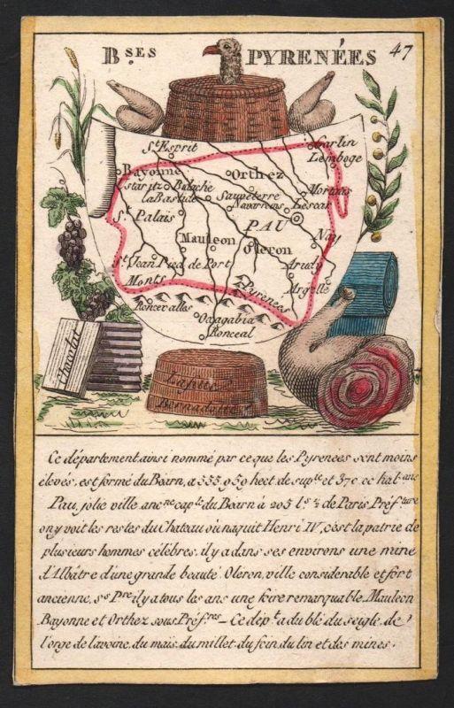 B.ses Pyrenees - Pau B.ses Pyrénées Frankreich France playing card carte a jouer Spielkarte Kupferstich copper