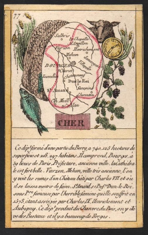 Cher - Bourges Cher Frankreich France playing card carte a jouer Spielkarte Kupferstich copper engraving antiq