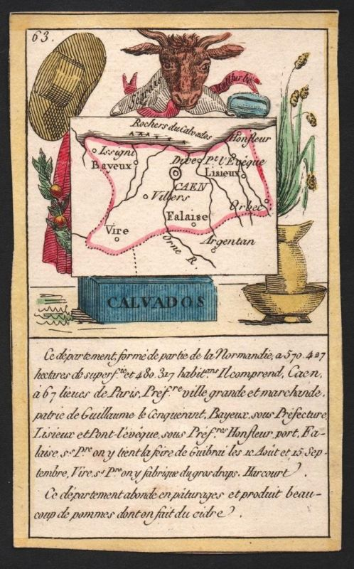 Calvados - Caen Calvados Frankreich France playing card carte a jouer Spielkarte Kupferstich copper engraving